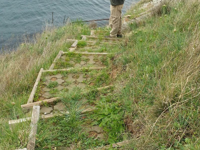 Stairs to the sea in front of the house
